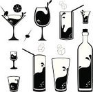 Cocktail,Glass,Martini,Shot Glass,Drink,Wine,Silhouette,Symbol,Alcohol,Wine Bottle,Vector,Beer - Alcohol,Bottle,Ice Cube,Tequila - Drink,Cup,Olive,Ilustration,Drop,Bubble,Design Element,Isolated On White,Set