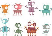 Robot,Toy,Cartoon,Cute,Science,Machinery,Vector,Collection,Cheerful,Set,Technology,Antenna - Aerial,Multi Colored,Futuristic