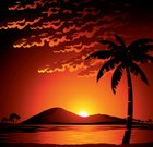 Sunset,Island,Tropical Climate,Mountain,Palm Tree,Sea,Tree,Sunrise - Dawn,Sun,Orange Color,Water,Red,Cloud - Sky,Hill,Sunlight,Beaches,Landscapes,Yellow,Nature,Travel Locations