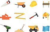 Brick,Road Construction,Drill,Construction Industry,Cement Mixer,Wheelbarrow,Sand Pail and Shovel,Hammer,Truck,Home Addition,Industry,Construction,Hand Saw,Town,Architecture And Buildings
