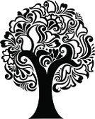 Tree,Clip Art,Floral Pattern,Swirl,Black Color,Vector,Vector Florals,Illustrations And Vector Art,Ilustration