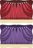 Curtain,Catwalk - Stage,Purple,Lighting Equipment,Stage Theater,Spotlight,Red,Velvet,Ilustration,Stage Light,Vector,Elegance,Architecture And Buildings,Arts And Entertainment,Theatre,Illustrations And Vector Art,Horizontal,Closed,Silk