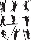 Skiing,Ski,Silhouette,Sport,Men,Winter Sport,Excitement,Hobbies,Ilustration,Athlete,Leisure Activity,Recreational Pursuit,Winter Coat,Exhilaration,Isolated,Professional Sport,Holding,Black Color,Side View,Vector,Physical Activity,Performance,Ski Pole,Adventure,Digitally Generated Image,White Background,Computer Graphic,Black And White,Sports Clothing,Expertise,Motion,Hand Raised,Action,On The Move,Jumping,Arms Raised,Extreme Sports,Front View,Outline,Isolated On White,Multiple Image,Clip Art,Balance,Male,Vector Graphics,Competitive Sport