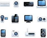 Air Conditioner,Computer,Telephone,Video,Modem,Laptop,Television Set,Computer Icon,Fax Machine,Camera - Photographic Equipment,Equipment,DVD Player,Electrical Equipment,Lens - Optical Instrument,Technology,Home Video Camera,Palmtop,Mobility,Set,Interface Icons,Digitally Generated Image,Computer Monitor,Mobile Phone,Isolated On White,Multimedia,Electronics,Illustrations And Vector Art,Technology Symbols/Metaphors,Vector Icons,Technology
