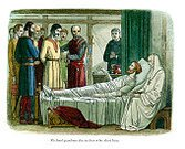 deathbed,Bed,Priest,Death,Richard I Of England,Engraved Image,History,Art,Clothing,English Culture,Lithograph,Old,Styles,British Culture,The Past,Period Costume,Place of Burial,England,Chivalry,Physical Injury,Traditional Clothing,Concepts And Ideas,European Culture,Antique,Power,Forgiveness,Royal Person,mercenary,Northern Europe,People,Painted Image,Cultures,Colors,Illustration Technique,Name Of Person,Medieval,Prisoner,King,Image Created 19th Century,Print,Color Image,Old-fashioned,Religious Occupation,Middle Ages,People,Historical Clothing,Social Grace,Clergy,UK,Army Soldier,Europe