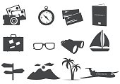 Adventure,Travel,Vacations,Icon Set,Suitcase,Tourism,Binaculars,Airplane,Island,Set,Airplane Ticket,Ticket,Photography,Camera - Photographic Equipment,Tropical Climate,Mountain,Passport,Briefcase,Palm Tree,Lens - Optical Instrument,Travel Locations,Illustrations And Vector Art,Summer,Isolated Objects,Interface Icons