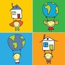 Child,House,Globe - Man Made Object,Earth,Cartoon,Baby,Planet - Space,Little Girls,Little Boys,Small,Childhood,Human Hand,Ilustration,Happiness,Friendship,Smiling,Peace Symbol,Symbols Of Peace,Unity,People,Vector Cartoons,Peace On Earth,Vector,Illustrations And Vector Art