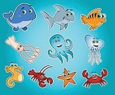 Fish,Sea,Cartoon,Lobster,Crab,Whale,Shark,Squid,Sea Life,Octopus,Jellyfish,Vector,Underwater,Starfish,Sea Horse,Bodies Of Water,Sea Life,Nature,Illustrations And Vector Art,Animals And Pets