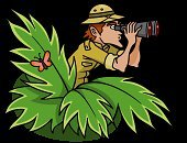 Explorer,Tropical Rainforest,Binoculars,Adventure,Pith Helmet,Exploration,Hat,Men,People,Hiding,Bird Watching,Discovery,Searching,Bush,Work Helmet,Peeking,Looking,Watching,Ilustration,Vector,Clip Art,Surveillance,Isolated,Illustrations And Vector Art,Isolated On White,Olive Green,Green Color,Actions,Finding,Lush Foliage,Vector Cartoons,People