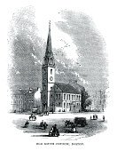 Boston,Church,New England,Woodcut,Image Created 18th Century,18th Century Style,USA,Engraved Image,Old,Old South Church,Colonial Style,Architecture,Old-fashioned,History,The Americas,American Culture,Massachusetts,Black And White,The Past,Illustration Technique,Built Structure,North America,Styles,Illustrations And Vector Art,Architecture And Buildings,Image Type,Print,Public Building,Building Feature,Places Of Worship,Image Date,Cultures,Spire,Bell Tower,Antique,Steeple,Eastern USA,Man Made,Place of Worship,Image,Tower,Architectural Feature,Architectural Styles