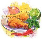 Food,Chicken,Fried Chicken,Sketch,Cooked,Fried,Lemon,Paintings,Meat,Paint,Drawing - Art Product,Vegetable,Creativity,Mint Leaf - Culinary,Art,Colors,Refreshment,Painted Image,Chili Pepper,Vector,Ilustration,Food And Drink,Design Element,Freshness,Brush Stroke,hand drawn,Vector Backgrounds,Red Chili Pepper,Onion,Grunge,Painterly Effect,Meat And Alternatives,Illustrations And Vector Art,Healthy Eating,Square,Composition