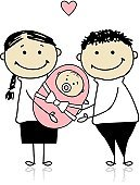 Family,Baby,Parent,Ilustration,Child,Vector,Vector Cartoons,Babies And Children,Families,Lifestyle,Illustrations And Vector Art