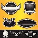 Shield,Insignia,Badge,Artificial Wing,Chrome,Banner,Metal,Award Ribbon,Checkered Flag,Sport,Symbol,Auto Racing,Flag,Winning,Metallic,Medallion,Shiny,Silver - Metal,Silver Colored,Black Color,Design Element,Protection,Star Shape,Carbon Fiber,Sports And Fitness,Sports Symbols/Metaphors,Technology,Vector Icons,Illustrations And Vector Art