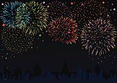 Firework Display,New Year's Eve,Urban Scene,Backgrounds,Urban Skyline,Ilustration,New Year,Vector,Fourth of July,Shiny,Celebration,Happiness,Night,Clip Art,Party - Social Event,Multi Colored,Showing,Holiday,Black Color,Variation,Event,Design,Traditional Festival,Bright,Illustrations And Vector Art,Sky,Star Shape,Vector Backgrounds,Entertainment,Joy,Dark