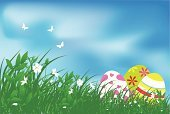 Easter,Eggs,Animal Egg,Backgrounds,Vector,Sky,Easter Egg,Springtime,Grass,Butterfly - Insect,Landscape,Nature