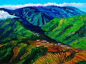 Art,House,Hill,Mountain,Image,Valley,Outdoors,Terraced Field,Visual Art,Arts And Entertainment,Village,Landscape,Canvas,Creativity,Painted Image,Nature,Landscapes,Arts Backgrounds,Ilustration,Acrylic Painting,Art Product,Paintings,Landscaped,Multi Colored