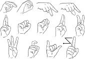 Human Hand,Sign Language,Doodle,Text,Instructions,Sign,Deafness,Vector,Line Art,Communication,Icon Set,Disabled,Learning,Craft,Guidance,Gesturing,Symbol,Physical Impairment,Concepts And Ideas,Illustrations And Vector Art,Communication,one handed,Vector Icons,Global Communications,Computer Icon,Skill