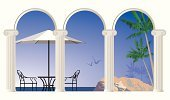 Patio,Balcony,Arch,Beach,Architectural Column,Porch,Colonnade,Chair,Building Exterior,Vector,Vacations,Ilustration,Rock - Object,Scenics,Outdoor Chair,Seagull,Outdoors,Tourism,Horizon,No People,Parasol,Palm Tree,Travel Destinations,Tranquil Scene,Beach Umbrella,Nature,Bird,Travel Locations,Sky,Illustrations And Vector Art,Travel,Clear Sky,Capital,Nature