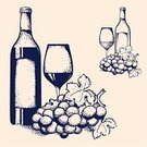 Wine,Wine Bottle,Grape,Retro Revival,Glass,Bottle,Sketch,Restaurant,Antique,Vine,Vector,Alcohol,Wineglass,Cartoon,Leaf,Illustrations And Vector Art,Vector Cartoons,Food And Drink,Alcohol,Hand-drawn,Computer Graphic,Rough,Design,Grunge