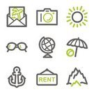 Symbol,Travel,Vacations,Beach,Computer Icon,Sun,Sign,Icon Set,Eyeglasses,Umbrella,Mountain,Hiking,Postcard,Image,Anchor,Camera - Photographic Equipment,Sea,Control,Green Color,Open,Control Panel,Sphere,Envelope,Internet,Mail,Gray,Connection,Ball,Arts And Entertainment,Arts Symbols