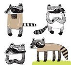 Raccoon,Nature,Animal,Characters,Variation,Vector,Cartoon,Set,Fluffy,Cute,Animals In The Wild,Hands Clasped,Animals And Pets,Concepts And Ideas,Illustrations And Vector Art,Wild Animals,hand drawn,Character Traits,Vector Cartoons,Line Art,Pest,Ilustration,Brown,Striped,Wildlife