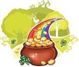 Pot Of Gold,Cooking Pan,Gold,Leprechaun,Treasure,Rainbow,St. Patrick's Day,Luck,Silhouette,Vector,Woodland,Cauldron,Ilustration,Good Luck Charm,Coin,Tree,Clover,Insignia,Leaf,Forest,Four Leaf Clover,Clover Leaf Shape,Swirl,Circle,Holiday Symbols,Holidays And Celebrations,Illustrations And Vector Art,Holiday,Drawing - Art Product,Computer Icon,Greeting Card,Bird,Nature,Spring,Vector Cartoons,Symbol,White Background,Green Color,Cartoon,Springtime,Arrangement,No People