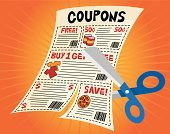 Coupon,Sale,Cutting,Shopping,Scissors,Savings,Newspaper,Cartoon,Retail,Vector,Finance,Home Finances,Retail/Service Industry,Industry,Illustrations And Vector Art,Business