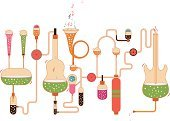 Music,Musical Instrument,Liquid,Musical Symbol,Isolated Objects,Illustrations And Vector Art,Vector,Ilustration,Container