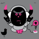 Music,Fun,Characters,Cartoon,Bird,Electrical Equipment,Concepts And Ideas,Pink Color,Arts And Entertainment,Humor,Feelings And Emotions,Character Traits,Vector,Music,MP3 Player,Ilustration,Gesturing,Staring