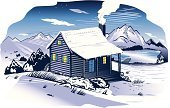 Cabin,Mountain,Winter,Non-Urban Scene,Tree,Woodcut,Purple,Snow,Cold - Termperature,Star - Space,Chimney,Mountain Range,Vector,Extreme Terrain,Wilderness Area,Landscape,Rural Scene,Lake,Illustrations And Vector Art,Icicle,Sky,Blue,Tranquil Scene,Landscapes,Nature,Rustic,Pier,Snowdrift,Ilustration,Dusk,Cloud - Sky,Plain,Remote,Winter,Smoke - Physical Structure,Pond,Night