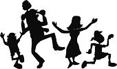 Family,Dancing,Child,Fun,Silhouette,Kid Goat,Playing,Cheerful,Mother,Happiness,Father,Vector,Senior Adult,Back Lit,Daughter,Play,People,Little Boys,Sibling,Ilustration,Son,Little Girls,Black Color,Playful,Enjoyment,Love,Emotion,Satisfaction,Human Age,Leisure Activity,Isolated,Brother,Decoration,Sister,Actions,Families,Sports And Fitness,Affectionate,Men,Lifestyle