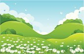Landscape,Cartoon,Fairy Tale,Backgrounds,Meadow,Hill,Springtime,Grass,Flower,Nature,Vector,Picture Book,Green Color,Ilustration,Summer,Butterfly - Insect,Season,Wallpaper Pattern,Greeting Card,Landscapes,Illustrations And Vector Art,Nature