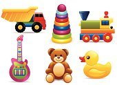 Toy,Baby,Child,Train,Duck,Icon Set,Teddy Bear,Play,Guitar,Truck,Wood - Material,Vector,Set,Rubber Duck,Locomotive,Cute,Pyramid Shape,Pyramid,Fun,Joy,Multi Colored,Isolated Objects,Arts And Entertainment,Steam Train,Illustrations And Vector Art
