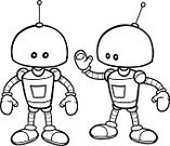 Robot,Ilustration,linework,Standing,Looking At Camera