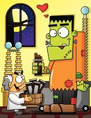 Frankenstein,Halloween,Laboratory,Scientist,Mad Scientist,Candy,Chocolate Candy,Humor,Doctor,Monster,Illustrations And Vector Art,Vector Cartoons,Futuristic,Candy Bar,Love