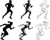 Running,Sprinting,Track Event,Silhouette,Athlete,Women,Men,Sport,Pursuit - Concept,Exercising,Speed,Competition,Sports Race,Black And White,Fitness,Individual Sports,Isolated On White,Sports And Fitness,Team Sports