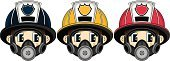 Work Helmet,Firefighter,Emergency Services,Three People,Fire Station,Vector,Emergency Services Occupation,Teenage Boys,Men,Characters,Occupation,People,Clip Art,Ilustration,Human Face,Heroes,Badge,Modern,Uniform,Illustrations And Vector Art,Vector Cartoons,Red,Yellow,Cartoon,Cute,Cool,Smoke Jumper