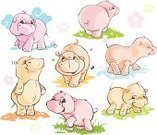 Hippopotamus,Butterfly - Insect,Cartoon,Cute,behemoth,Animal,Small,Flower,Drop,Walking,Water,Fun,Pink Color,Set,Joy,Cloud - Sky,Variation,Color Image,Young Animal,Wild Animals,Vector Icons,Nature,Cheerful,Animals And Pets,Vector,Playful,Grass,Ilustration,Computer Icon,Smiling,Baby Animals,Illustrations And Vector Art