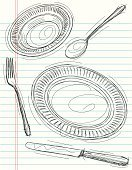 Fork,Spoon,Silverware,Plate,Crockery,Sketch,Drawing - Art Product,Dining,Place Setting,Line Art,Table Knife,Ilustration,Backgrounds,Doodle,Vector,Art,Porcelain,Cartoon,Scribble,Computer Graphic,Paper,Pen And Marker,Lined Paper,Funky,Cool,Kitchen Equipment,Style,Objects/Equipment,Copy Space,Illustrations And Vector Art,Food And Drink,Digitally Generated Image,Household Objects/Equipment