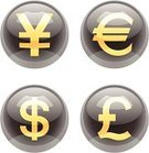 Currency Symbol,European Union Currency,Euro Symbol,Icon Set,Yen Sign,Dollar,Japanese Yen,USA,Computer Icon,Push Button,Interface Icons,Japan,Three-dimensional Shape,Shiny,Glass - Material,Sphere,England,Business,Business Symbols/Metaphors,Pound Symbol,Europe,Illustrations And Vector Art,Design Element,Vector Icons,UK,British Currency,Dollar Sign Key,Vector,Dollar Sign