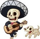 Human Skull,Human Skeleton,Animal Skeleton,Mexican Ethnicity,Mexican Culture,Dog,Animal Skull,Mariachi (Mexican),Cartoon,Halloween,Vector,Guitar,Dead Animal,Dead Person,Cheerful,Happiness,Cute,Human Bone,Singing,Walking,Characters,Holidays And Celebrations,Illustrations And Vector Art,Animal Bone,Color Gradient,Male Animal,Male,Undead,Halloween,Following