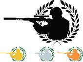 Sniper,Armed Forces,Military,Silhouette,Sign,Target Shooting,Art,Medallion,Shooting,Medal,Rifle,Target Sport,Stencil,Laurel,Branch,Weapon,Insignia,Sport,Award,Symbol,Success,Winning,Vector,Ilustration,Success,Individual Sports,Concepts And Ideas,Part Of,Isolated On White,Gold Colored,Decoration,Achievement,Bronze,Fantasy,Classical Style,Leaf,Laurel Wreath,Silver Colored,Pattern,Green Color,Sports And Fitness,Illustrations And Vector Art,Vector Cartoons,Isolated,Design