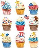 Cupcake,Candy,Cake,Muffin,Cookie,Symbol,Patriotism,USA,Vector,Fourth of July,Food,Dessert,Computer Icon,Sweet Food,American Flag,Luxury,Flag,Ilustration,Chocolate,Icing,Blue,Sprinkles,Dessert Topping,Group of Objects,Set,Striped,Baked,Design Element,Twisted,Collection,Uncle Sam Hat,Spiral