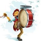 Drum,Music,Bird,Vector,Musical Instrument,Street,Art,Playing,Humor,Occupation,Men,People,Smiling,Performance,Play,Actor,Musician,Theatrical Performance,Enjoyment,Cheerful,Male,Outdoors,Isolated,Large,Acting,Fun,Arts And Entertainment,White,People,Joy,Music,Happiness,Sound,Ilustration,Dancing,Young Adult,Kicking,One Person
