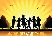 Child,Silhouette,Playing,Back Lit,Park - Man Made Space,Playground,Happiness,Fun,Backgrounds,Preschooler,Summer,Ring-Around-The-Rosy,Little Boys,Holding Hands,Little Girls,Outdoors,Vector,Togetherness,Sunlight,Nature,Pre-Adolescent Child,Ilustration,Sunset,Freedom,Abstract,Enjoyment,Turning,Outdoor Play Equipment,Herb,Bow Tie Pasta,Horizontal,Insect