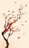 Japan,Sakura,Flower,Tree,Japanese Culture,Cherry Blossom,Branch,China - East Asia,Red,East Asian Culture,Springtime,Plum Blossom,Chinese Culture,Vector,Floral Pattern,Retro Revival,Wind,Design,Style,Ink and Brush,Growth,Love,Happiness,Ilustration,Leaf,Beauty In Nature,Nature,Illustrations And Vector Art,Vector Florals,Beautiful,Elegance,Spring,Nature,Nature Backgrounds