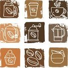 Coffee - Drink,Cup,Coffee Cup,Cupcake,Take Out Food,Symbol,Mug,Coffee Bean,Hot Drink,Coffee Pot,Textured Effect,Coffee Grinder,Grunge,Coffee Cake,Lifestyle,Drinks,Illustrations And Vector Art,Carafe,Food And Drink