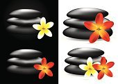 Spa Treatment,Stone,Red,Lastone Therapy,Frangipani,Illustrations And Vector Art,Beauty And Health,Objects/Equipment,Massage,Flower,Healthy Lifestyle,Vector,Ilustration,White,Black Color