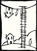 Ladder,Reaching,Friendship,Home Interior,Separation,Earth,Woodcut,Unity,Solitude,Clambering,Ideas,Vector,Teamwork,Illustrations And Vector Art,Homes,Architecture And Buildings,Concepts And Ideas,Planet - Space,Business
