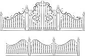 Gate,Iron - Metal,Ornate,Fence,Railing,Park - Man Made Space,Door,Hedge,Steel,Silhouette,wrought,Baroque Style,Decoration,Entrance,Blacksmith Shop,Curly Howard,Black Color,Cartoon,Vector,Architecture,Ilustration,Isolated,Closed,Wire,Isolated Objects,Doorway,Craft,Curve,Decor,Vector Cartoons,Protection,Illustrations And Vector Art,Swirl,Architectural Detail,Curled Up,Elegance,emboss,Style,Creativity,Architecture And Buildings,Isolated-Background Objects,Allegory Painting